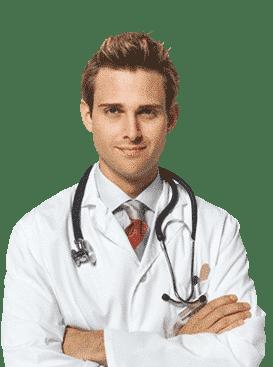 Лекар в бяла престилка и слушалки на врата