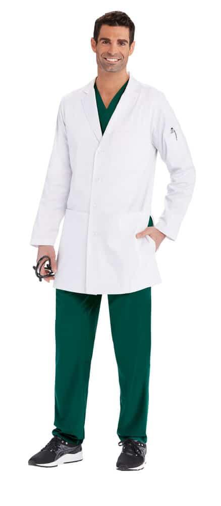 Красив лекар с медицинска престилка - къса