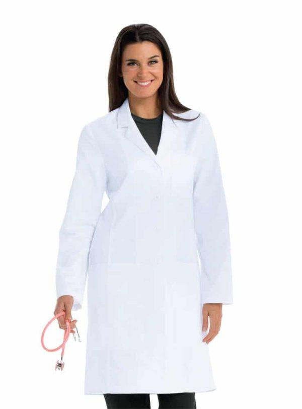Красива лекарка с медицинска престилка - дълга