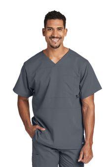 Красив лекар със сива медицинска туника